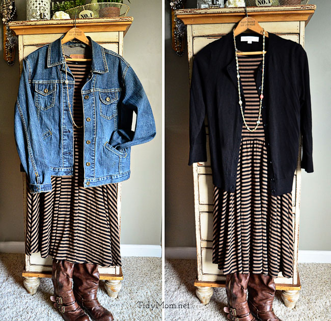 Stitch Fix Striped Dress 2 ways at TidyMom.net