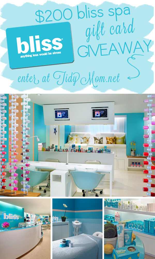 Win a $200 Gift Card to Bliss Spa at TidyMom.net