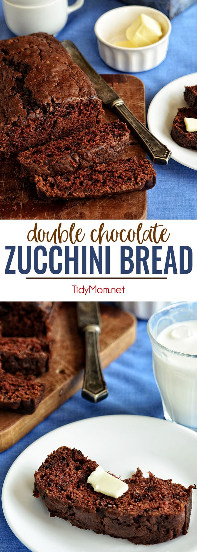 chocolate zucchini bread photo collage