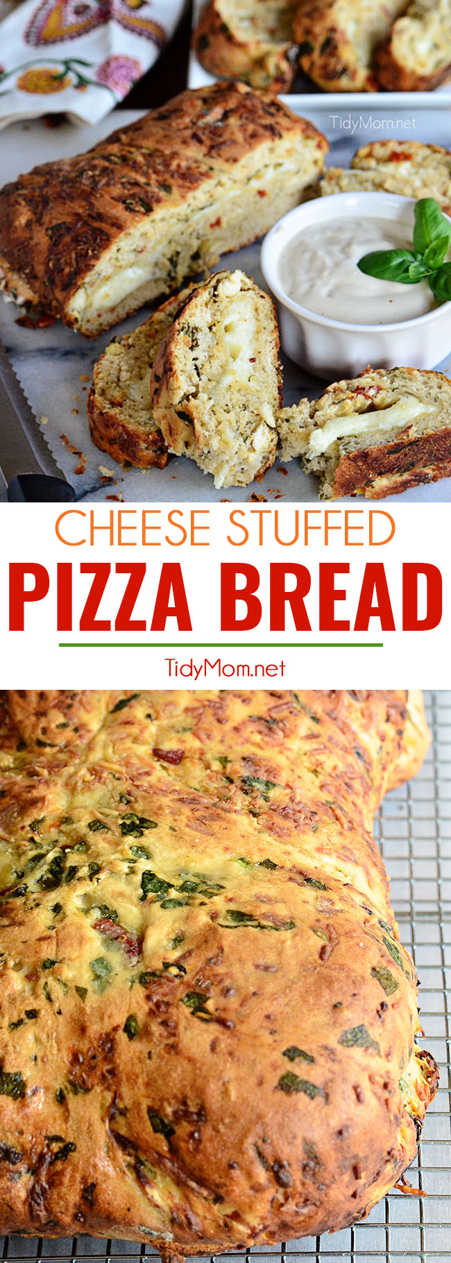 Pizza Bread is a twist on traditional pizza. Bread dough seasoned with chicken, fresh spinach, sun-dried tomatoes and stuffed with cheese. Served warm with Alfredo sauce. Print the full recipe at TidyMom.net