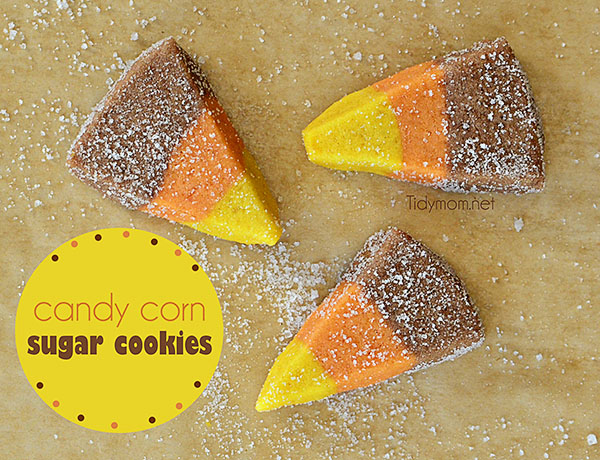 Easy Candy Corn Sugar Cookies from TidyMom.net