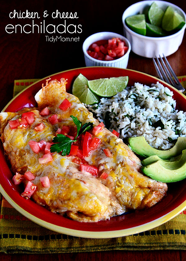 These Easy Chicken & Cheese Enchiladas are oven ready in 15 minutes and on the table in another 30 minutes. Fast and full of flavor! Print the full recipe at TidyMom.net