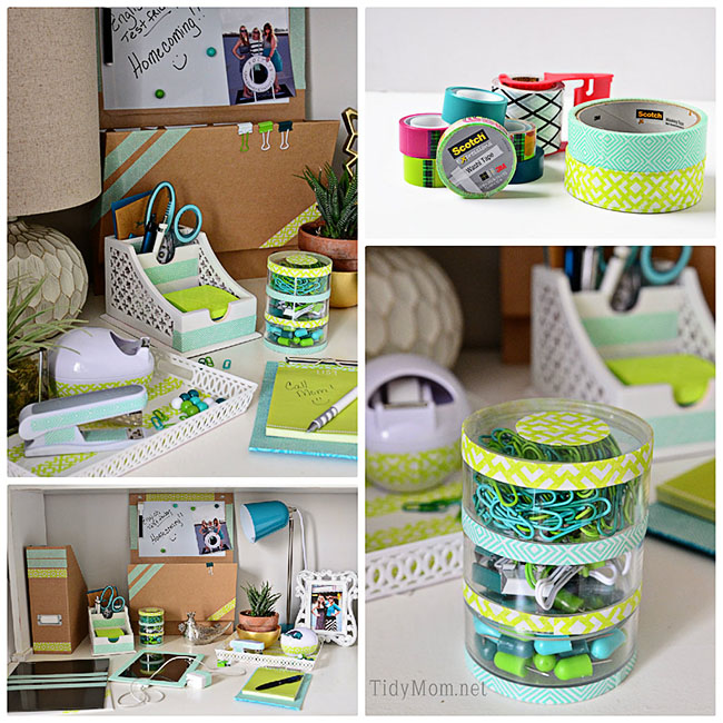 Take boring desk accessories and iPad from drab to fab with tape at TidyMom.net