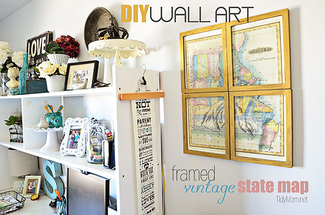 DIY Wall Art | Framed Vintage State Map at TidyMom.net