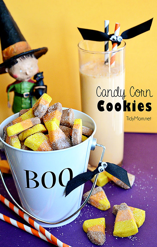 fall cookies in bucket with glass or orange milk