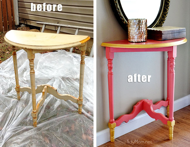 DIY Gold and Coral Table before and after at TidyMom.net