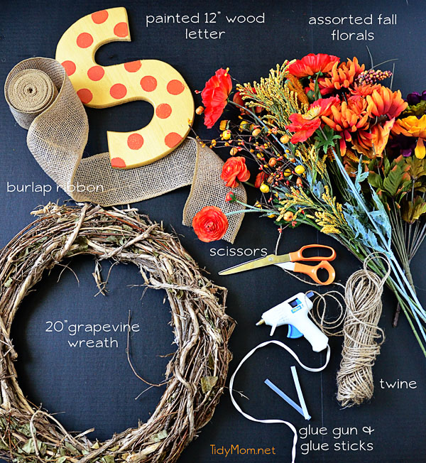 make your own Monogram Fall Wreath supplies at TidyMom.net