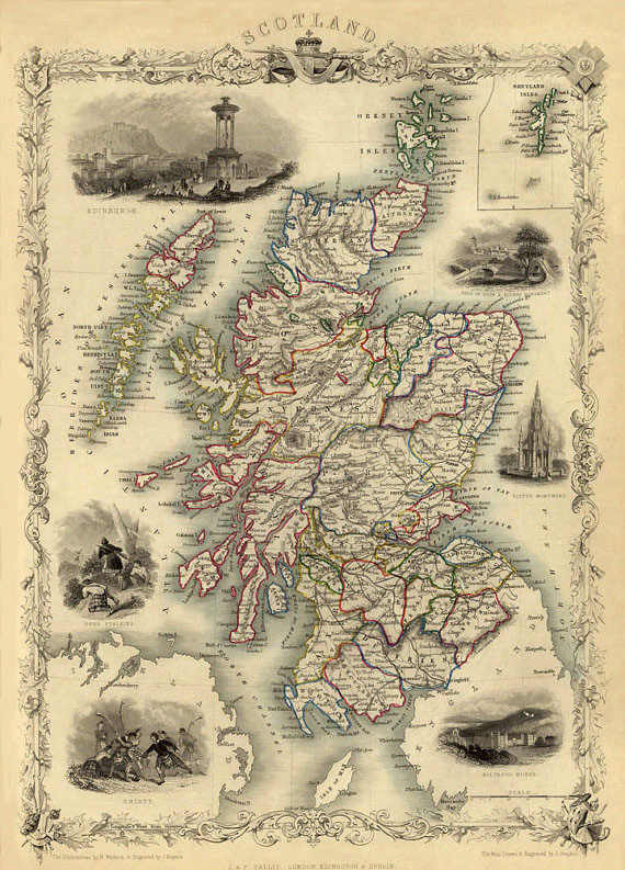 Vintage Map of Scotland Print - at TidyMom.net