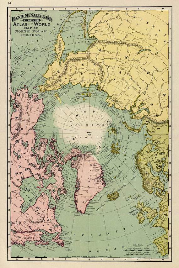 Vintage Map of North Pole Print - at TidyMom.net
