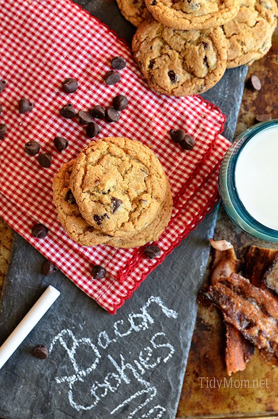 Candied Bacon Chocolate Chip Cookies on red checked napkin