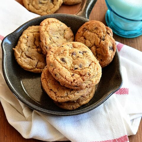 Bacon Bourbon Chocolate Chip Cookies are a bacon lovers dream cookie! Chocolate chip cookies with candied bacon and bourbon are sweet, savory, and absolutely delicious.