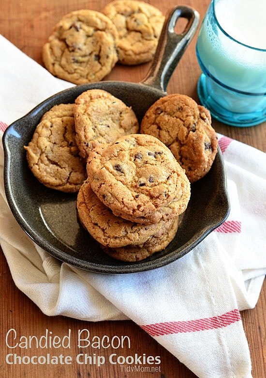 Candied Bacon Chocolate Chip Cookies in a skillet
