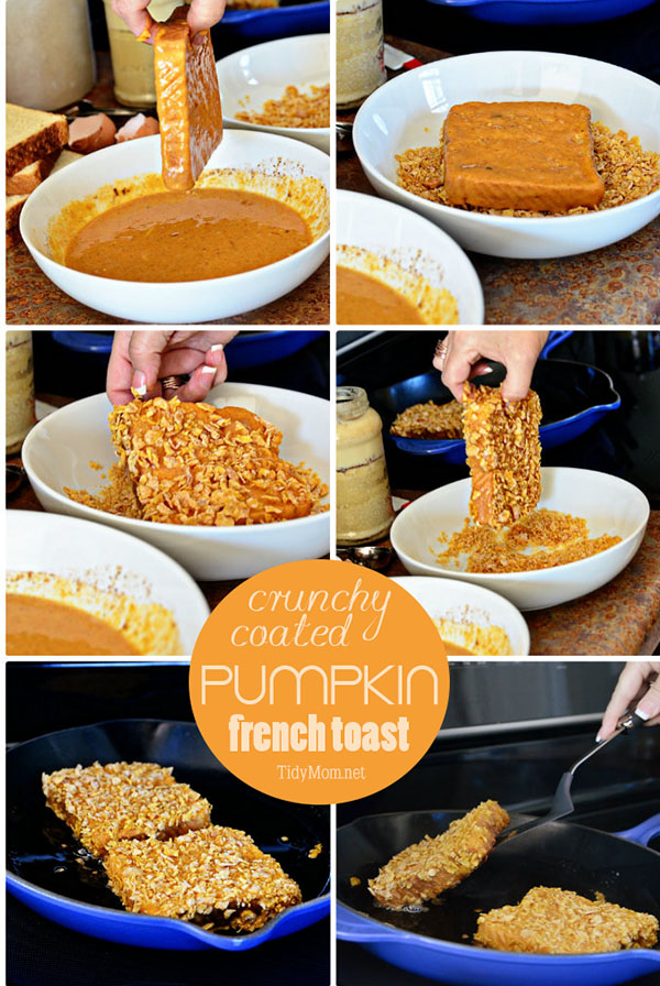 How to make Crunchy Coated Pumpkin French Toast recipe at TidyMom.net