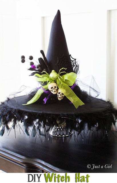 DIY Witch Hat - Halloween Decor from Just a Girl. Tutorial at TidyMom.net