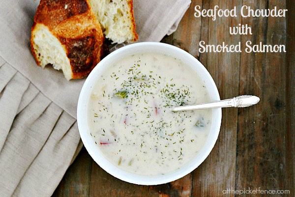 Seafood chowder with smoked salmon and dill from atthepicketfence.com. Recipe at TidyMom.net
