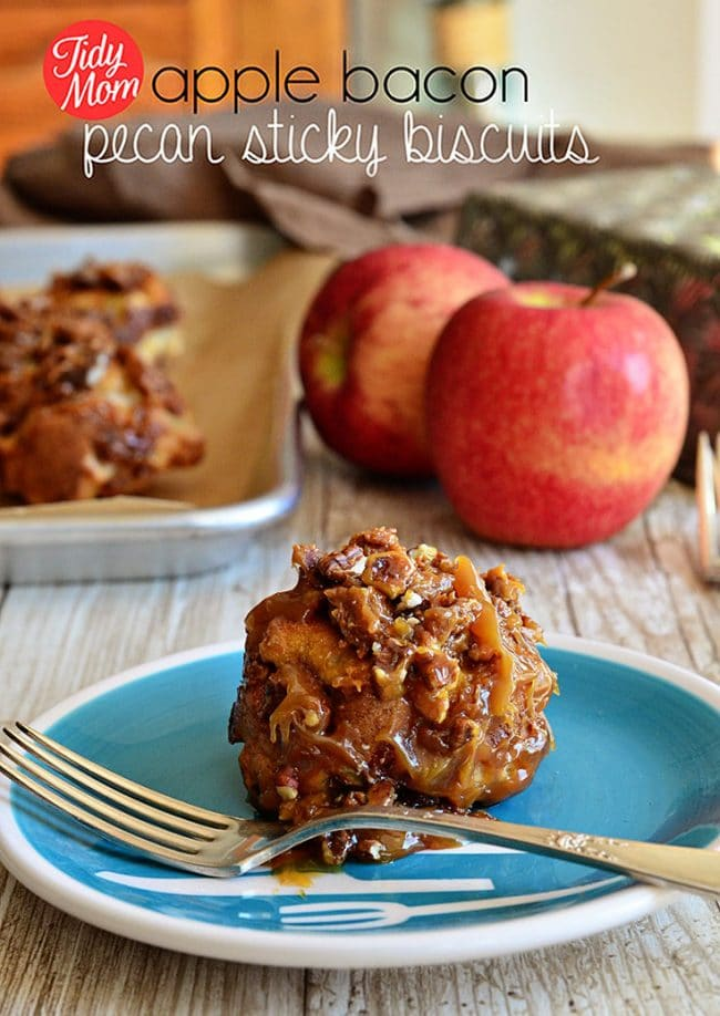 Apple Bacon Pecan Sticky Biscuits. The sweet and salty flavors of the apple and bacon make these sticky biscuits stand out, for breakfast or dessert. Easy and oh so delicious! Print the full recipe at TidyMom.net