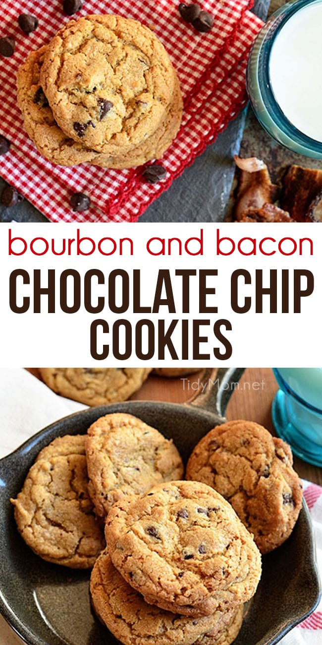 Bourbon and Bacon Chocolate Chip Cookies are a bacon lovers dream cookie! Chocolate chip cookies with candied bacon and bourbon are sweet, salty, and absolutely delicious. Print full recipe at TidyMom.net #cookies #chocolatechipcookies #cookierecipe #bacon #bourbon
