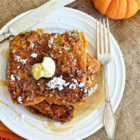 Bacon Fried Cereal Coated Pumpkin French Toast