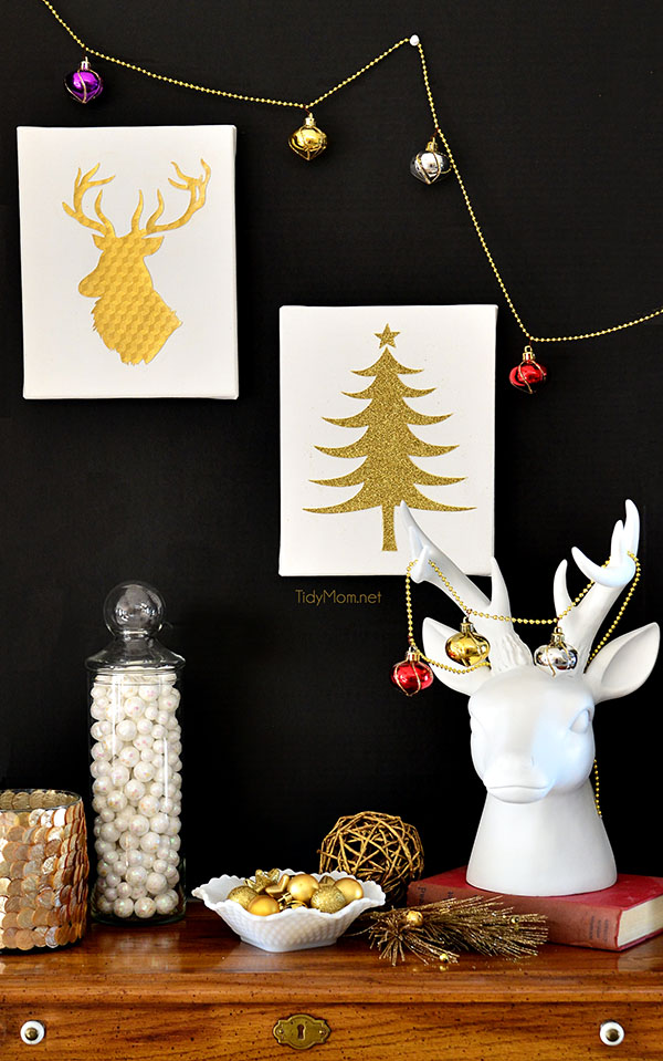 Easy Gold And White Christmas Wall Art