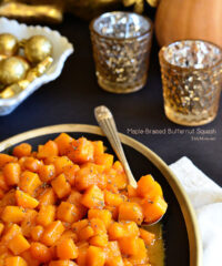 A simple, sweet and easy side dish recipe that will cozy up just about any meal. Easy Maple-Braised Butternut Squash recipe at TidyMom.net