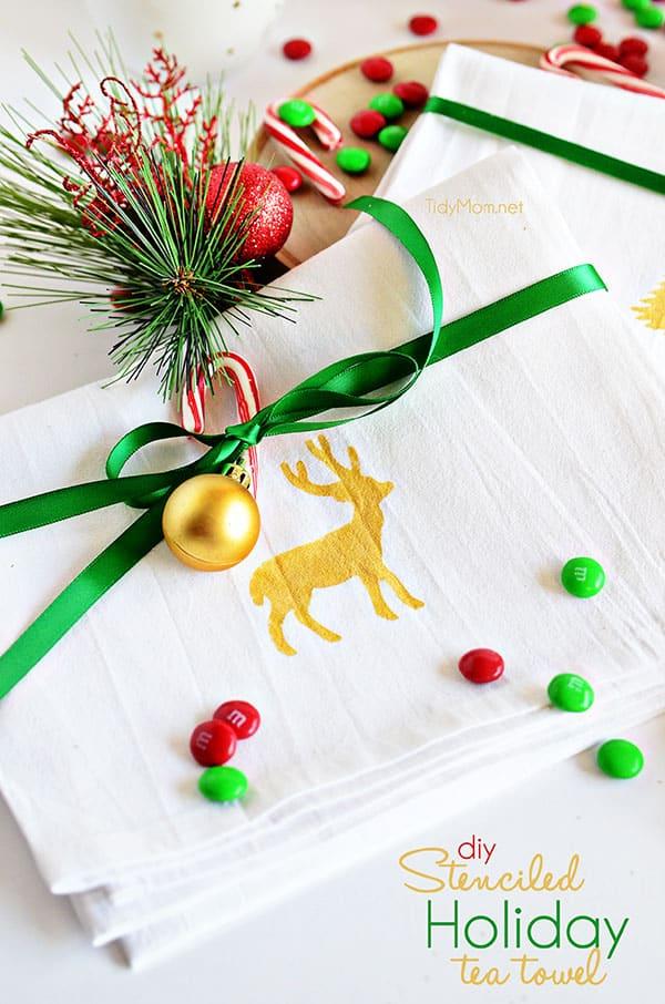 Stenciled Holiday Tea Towel