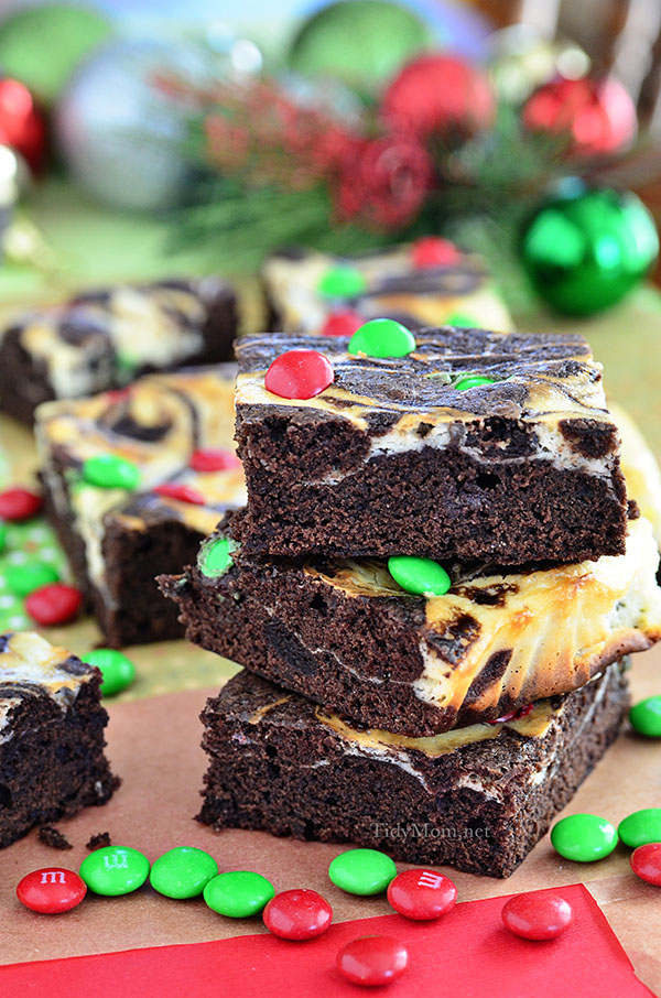 A swirl of cheesecake turns plain brownie mix into something special. Make Marbled Brownies holiday ready with M&Ms® Brand Chocolate Candies on top.