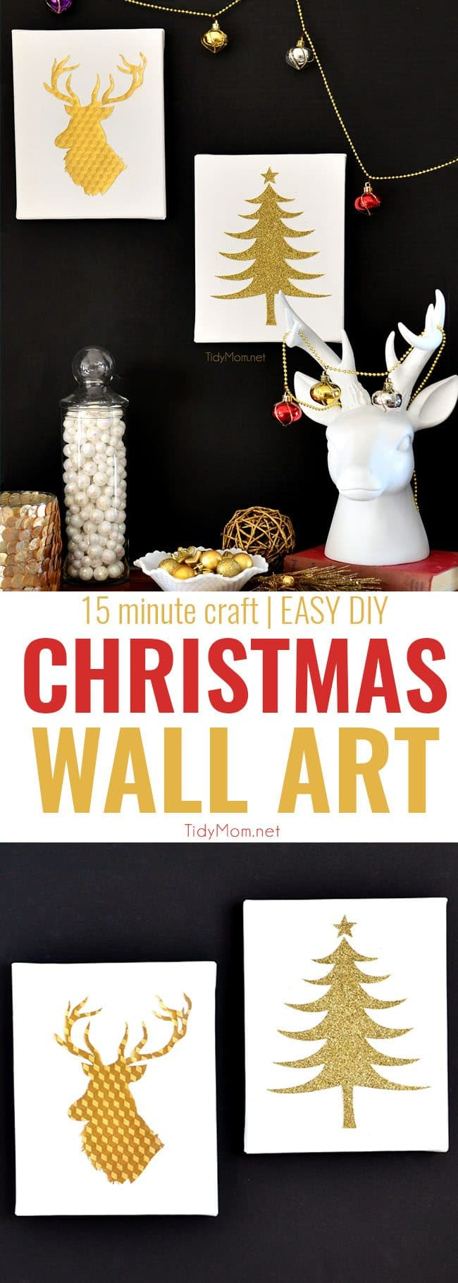 Easy Gold and White Christmas Wall Art - You can make your own custom DIY Christmas Wall Art in no time, with the help of a craft cutter, like the Silhouette. The possibilities are endless! full tutorial at TidyMom.net