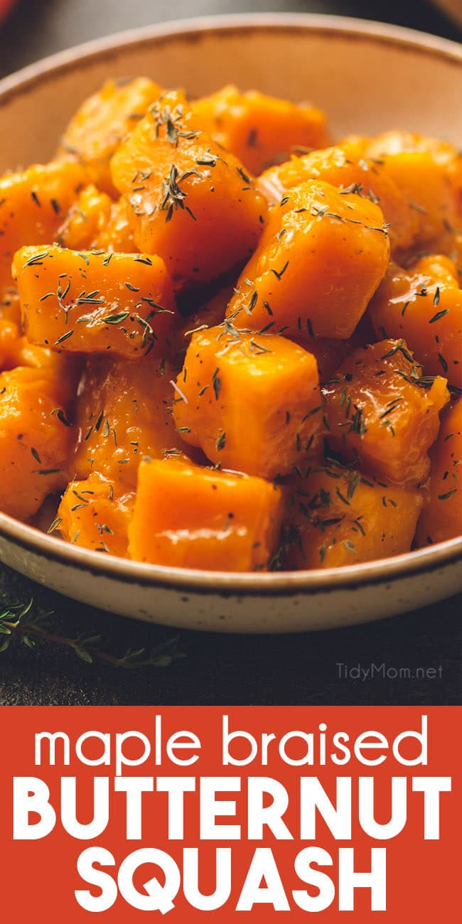 braised butternut squash in a bowl with thyme