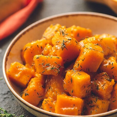 maple braised butternut squash in a bowl