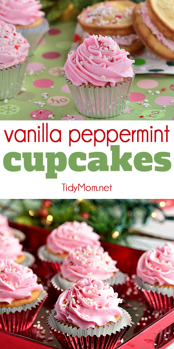 Vanilla Peppermint Cupcakes are not overly pepperminty, but oh my do they make your house smell amazing!!  If you were to make these for Santa, there's no way he would miss your house! Recipe video + printable recipe at TidyMom.net