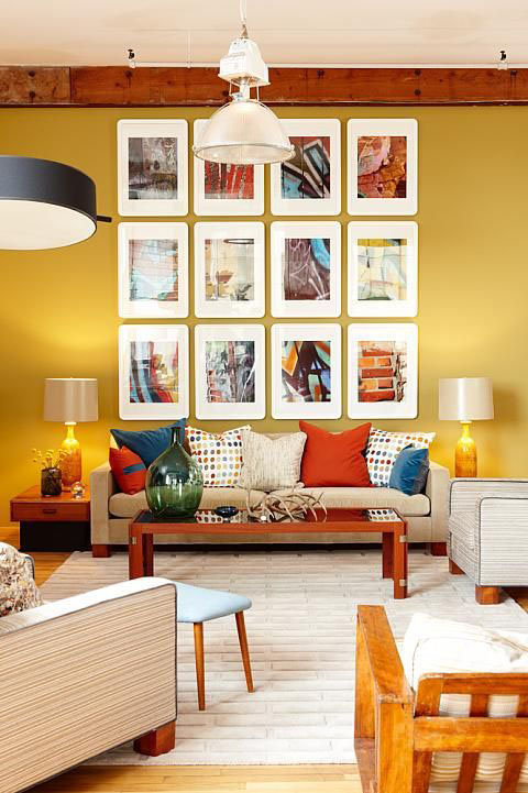 Collage over sofa makes a great focal point