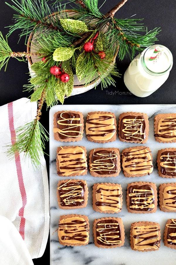 Chocolate Peanut Butter Shortbread Bites. #cookies recipe at TidyMom.net