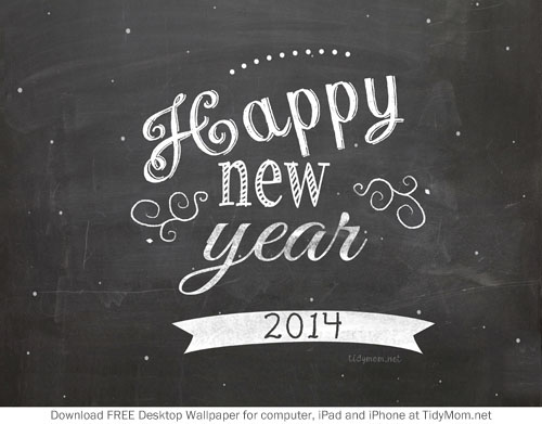 Happy New Year 2014 Chalkboard Background at TidyMom.net