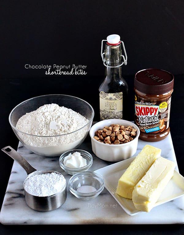 Chocolate Peanut Butter Shortbread Bites. recipe at TidyMom.net