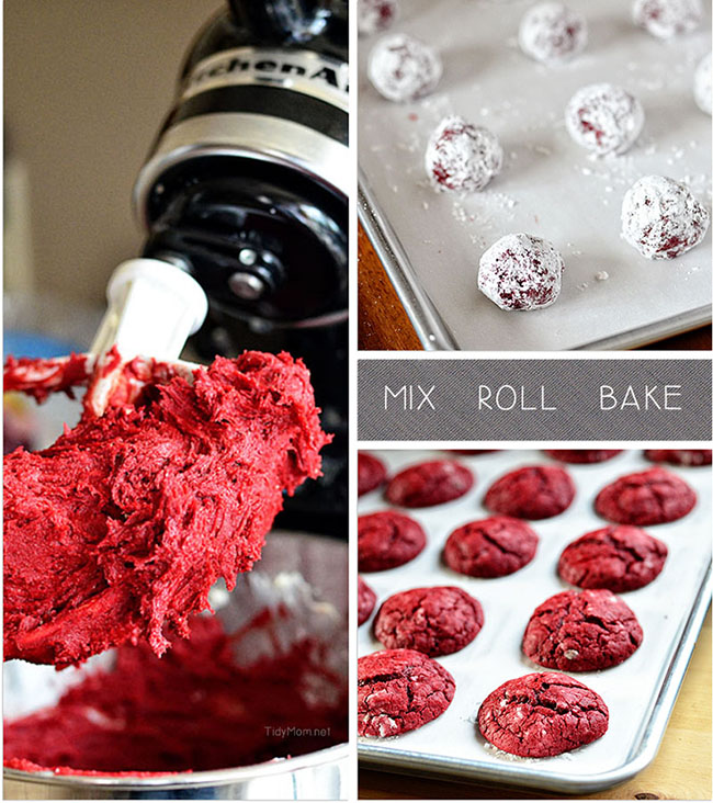 Red Velvet Cookies mix roll and bake