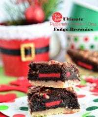 The Ultimate Peppermint Cookie Oreo Fudge Brownies. A peppermint sugar cookie bar is topped with a fudgy mint brownie and stuffed with a Holiday Oreo cookie for, without a doubt, one insanely decadent layer bar. Recipe at TidyMom.net
