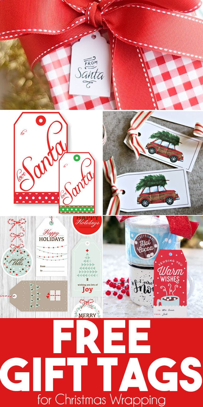 collection of free printable Christmas gift tags