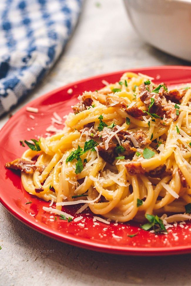 Delicious classic Bacon Carbonara on a red plate