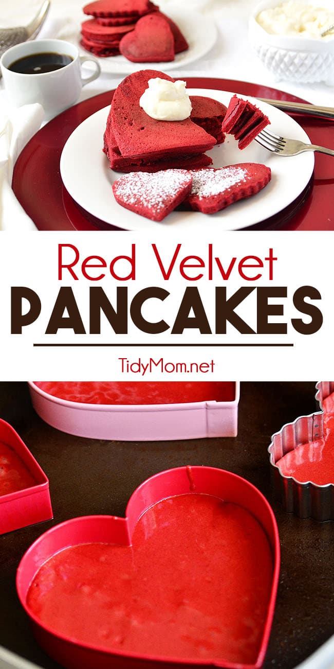 Red Velvet Pancakes can make an ordinary breakfast feel extraordinary. Especially when you make them heart shaped for Valentines Day. Get the recipe at TidyMom.net #pancakes #redvelvet #breakfast #valentinesday #hearts