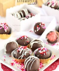 Chocolate Covered Strawberry Cake Balls recipe at TidyMom.net perfect for Valentines Day