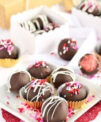 strawberry cake balls in bakery boxes