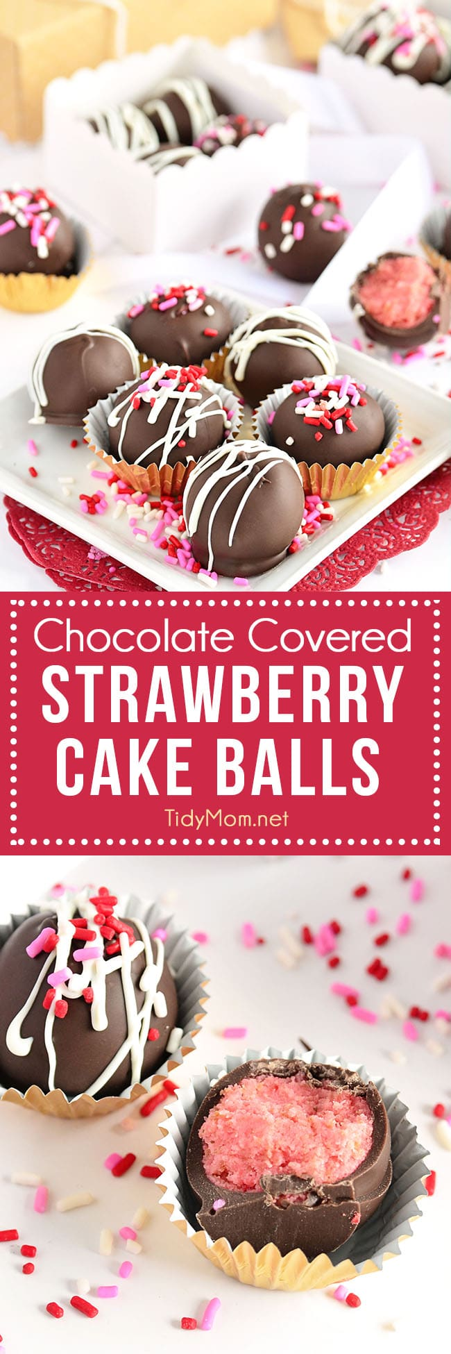 Chocolate Covered Strawberry Cake Balls recipe at TidyMom.net perfect for Valentines Day gift or any occasion. #strawberry #chocolate #valentinesday #cakeballs #truffles