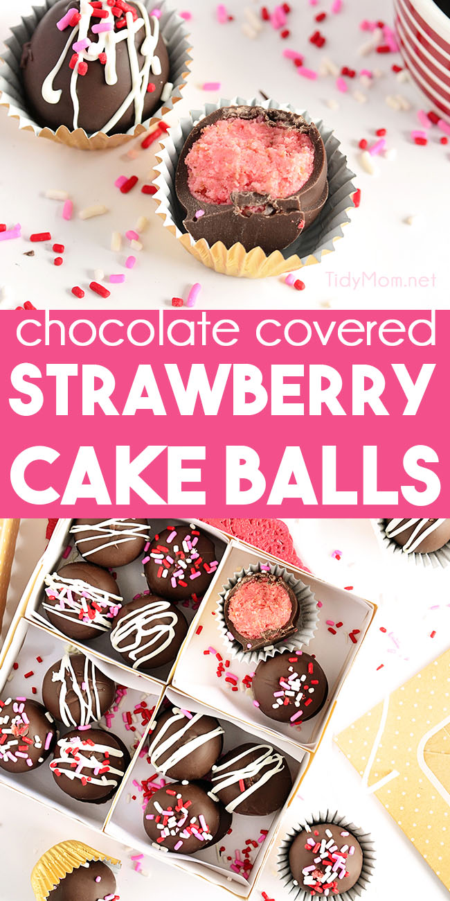 strawberry cake balls in bakery box
