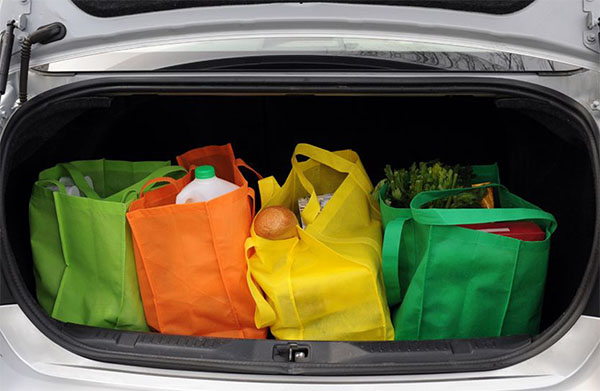 Tips on how to be more green at TidyMom.net - stop using disposable bags, buy eco-friendly bags.