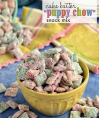 Cake Batter Puppy Chow snack mix recipe at TidyMom.net #yearofcelebrations