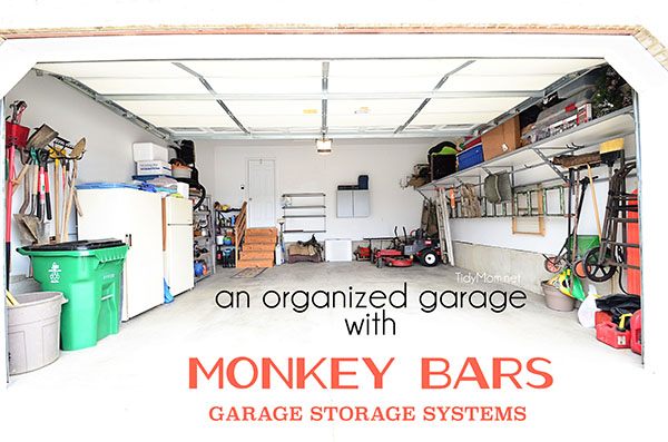 An Organized Garage Using The Monkey Bars Storage Systems At TidyMom