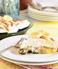 Easy Salted Caramel Banana Cream Pie with a chocolate oreo crust. Recipe at TidyMom.net