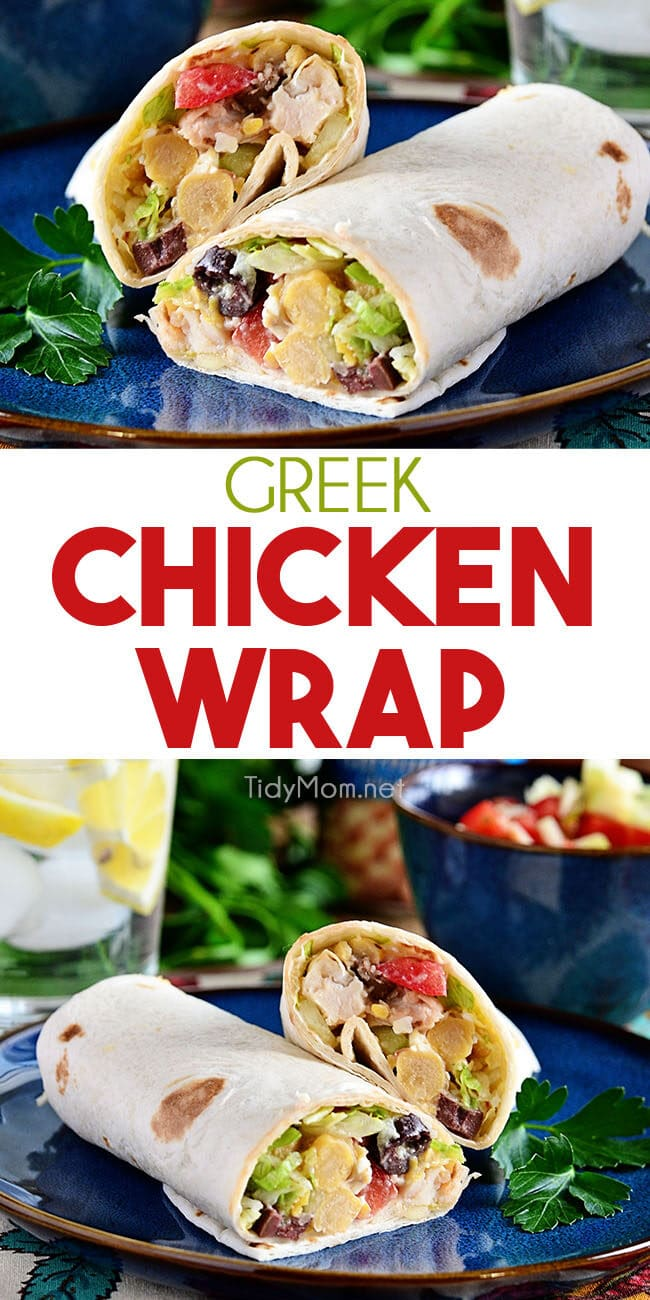 easy greek chicken wrap collage