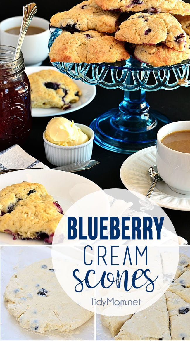 Blueberry Cream Scones on a blue cake stand