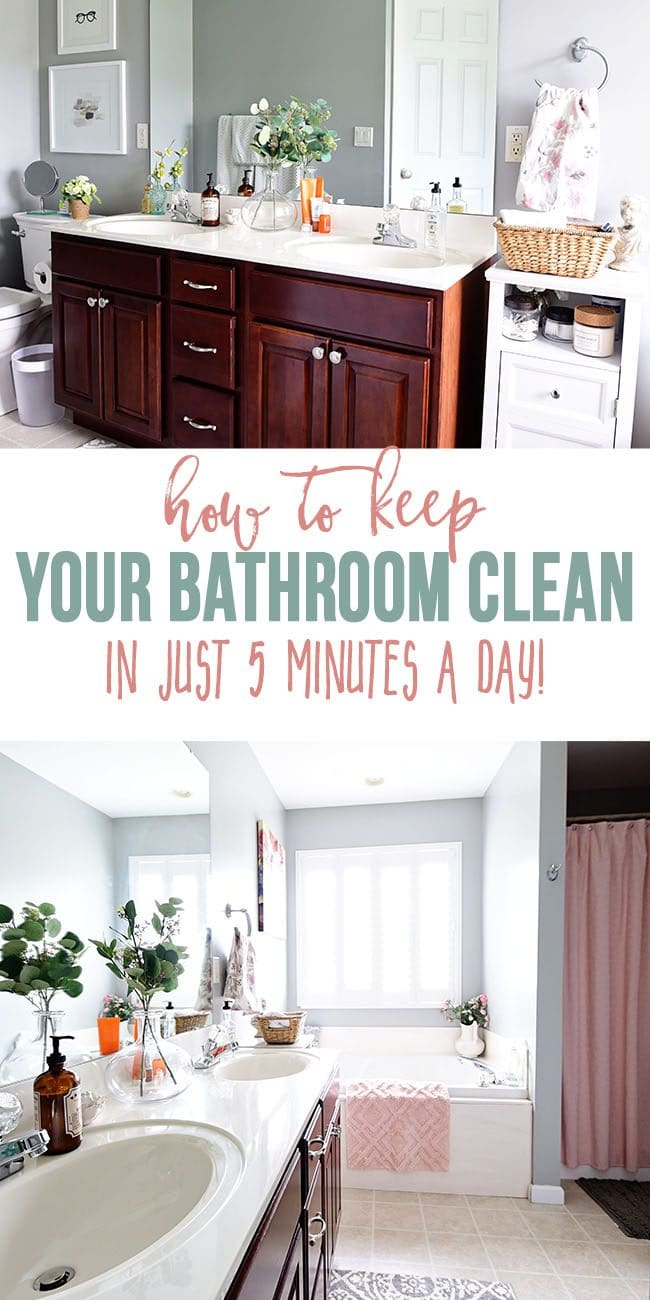 Do you dream of a bathroom that always sparkles? Want to learn how to keep your bathroom clean in 5 minutes a day? It's easy, I promise! It may sound like a chore to clean your entire bathroom every day, but there are 4 simple steps that can become a daily habit and only take a few minutes. Get all the cleaning details at TidyMom.net #bathroom #cleaning #howto #housekeeping #tidymom